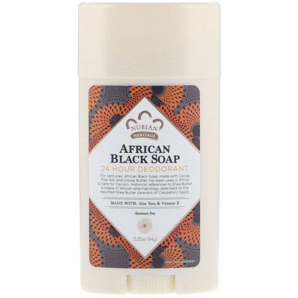 Nubian Heritage, 24時間デオドラント、アフリカンブラックソープ