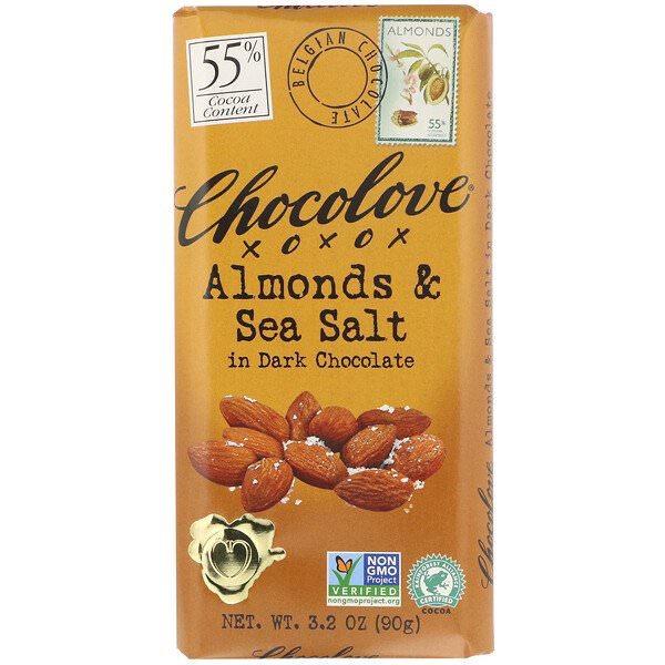 Chocolove, アーモンド & シーソルト イン ダークチョコレート55%