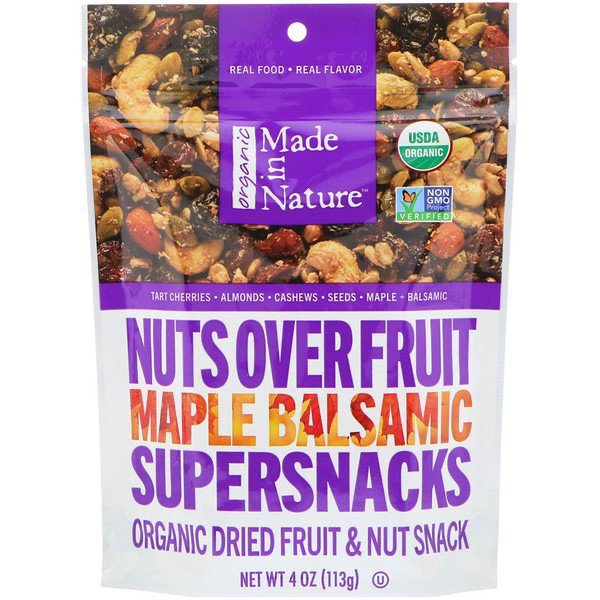 Made in Nature, オーガニックナッツ&フルーツ、メープル・バルサミコ