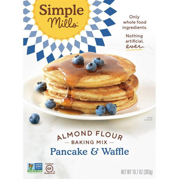 Simple Mills, 天然グルテンフリー、アーモンド粉末ミックス、パンケーキ&ワッフル
