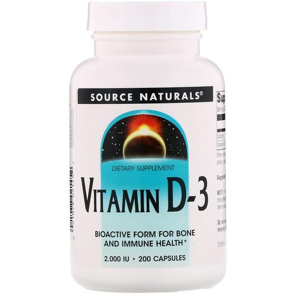 Source Naturals, ビタミンD3、2,000 IU、カプセル